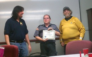 Jimmie Gail McPherson is awarded Comet Award.